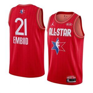 76ers #21 Joel Embiid 2020 All-Star Jersey Red